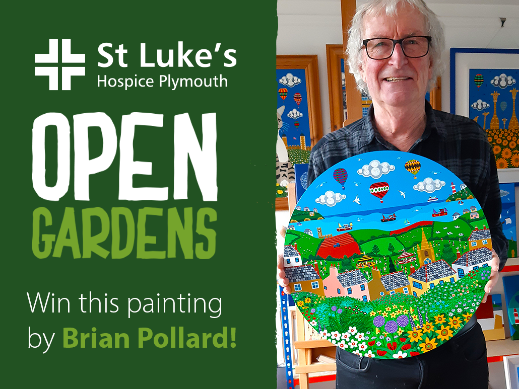 Image of artist Brian Pollard holding a bright landscape painting. Text reads: Open Gardens, win this painting by Brian Pollard.