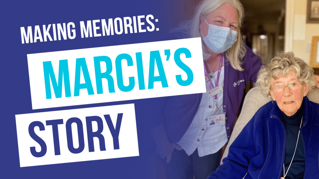 Making memories marcia's story. Marcia pictured with St Luke's nurse