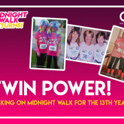 St Luke's Midnight Walk Case Study Header. Images of the twins taking part in the Midnight Walk through the years.